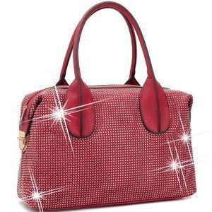 Faux Leather Rhinestone Studded Zip-Around bag